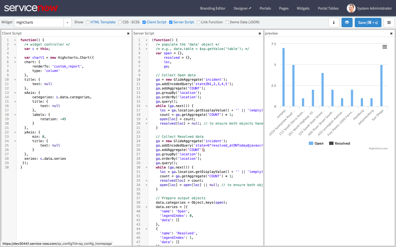 Generate HighChart Data in a Widget Server Script